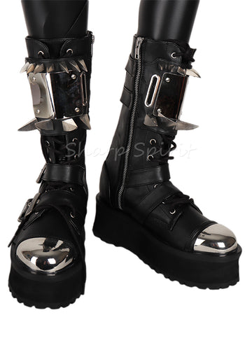Cyborg Futuristic Cyber Military Combat Steampunk Mens Boots
