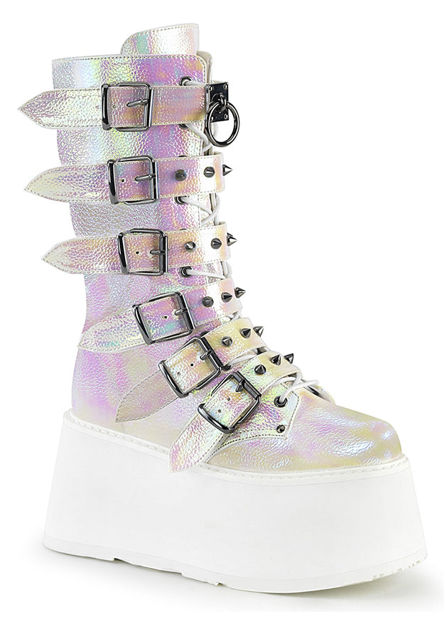 Pearl Iridescent Vegan Leather Rave Platform Boots