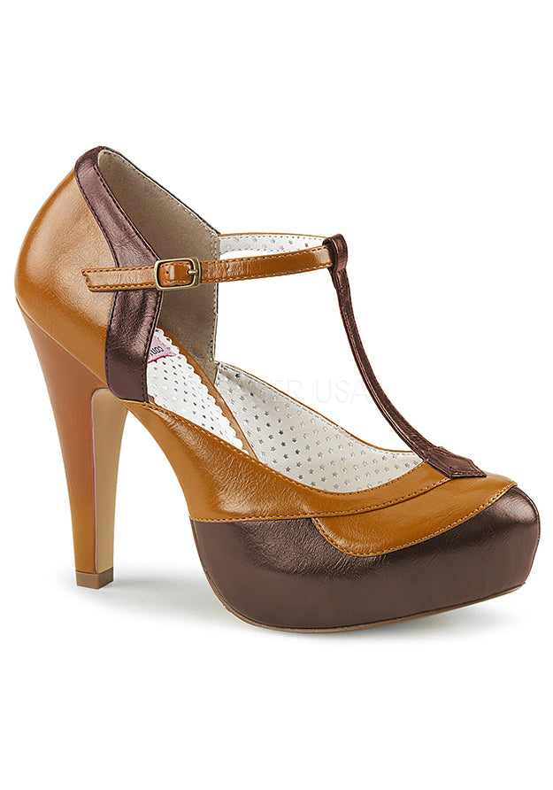 Dark Brown & Maple Faux Leather T-Strap Heels