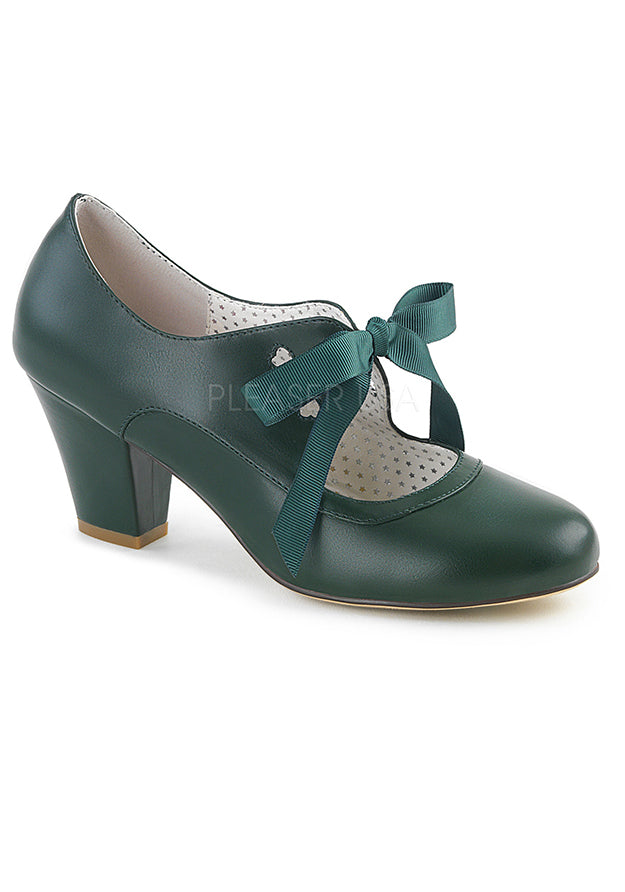 Dark Green Mary Jane Pumps w Cuban Heel