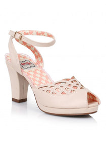 Nude Retro Peep Toe Sandals