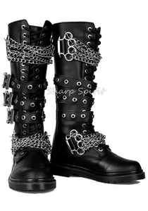 "1 1/4"" Heel 20 Eyelet  Knee High Combat Boot, Side Zip"