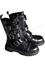 Load image into Gallery viewer, Black Leather Buckle Strapped Boots