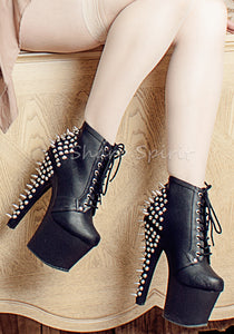 Spiked Platform Ankle High Fetish Boots