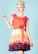 Load image into Gallery viewer, Retro Print Orange Contrast Dress