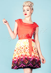 Retro Print Orange Contrast Dress