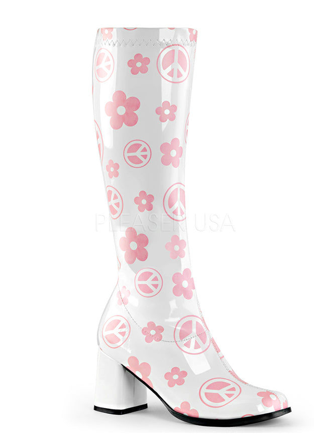 White Flowers of Peace Retro Boots
