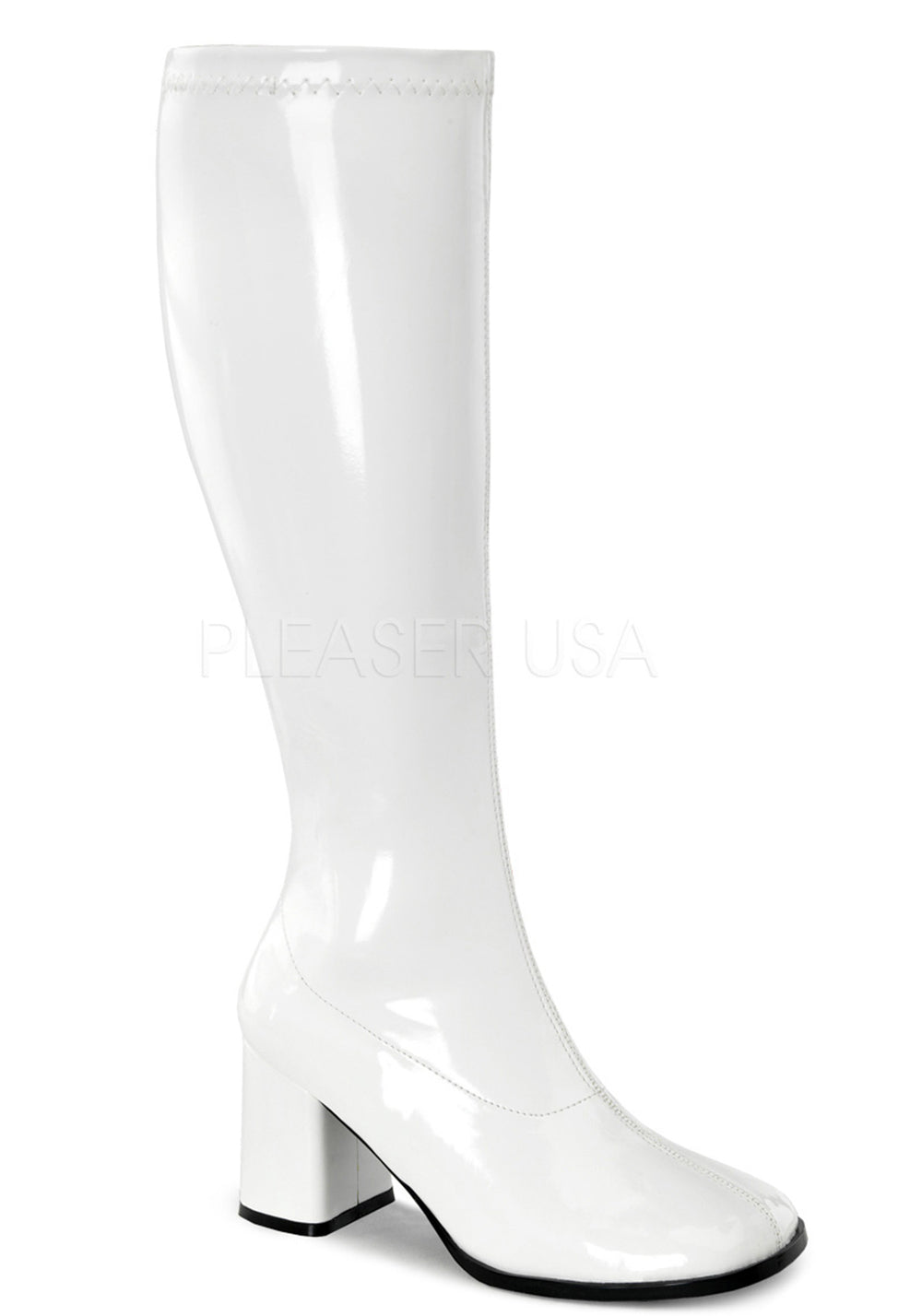 White Pat Wide Calf Boots