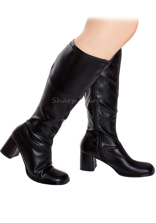 Black Pu Wide Calf Boots
