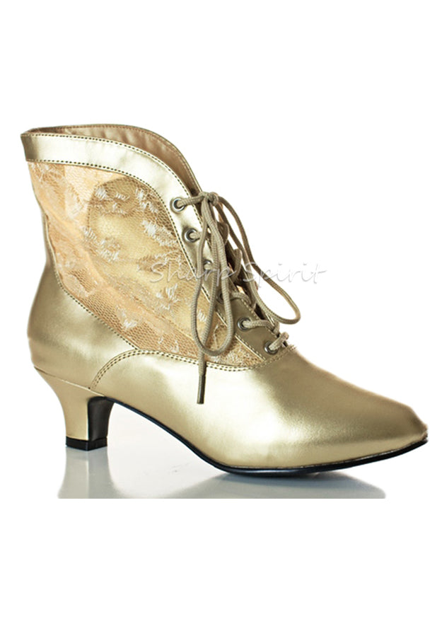 Gold Lace Up Mid-Calf Booties