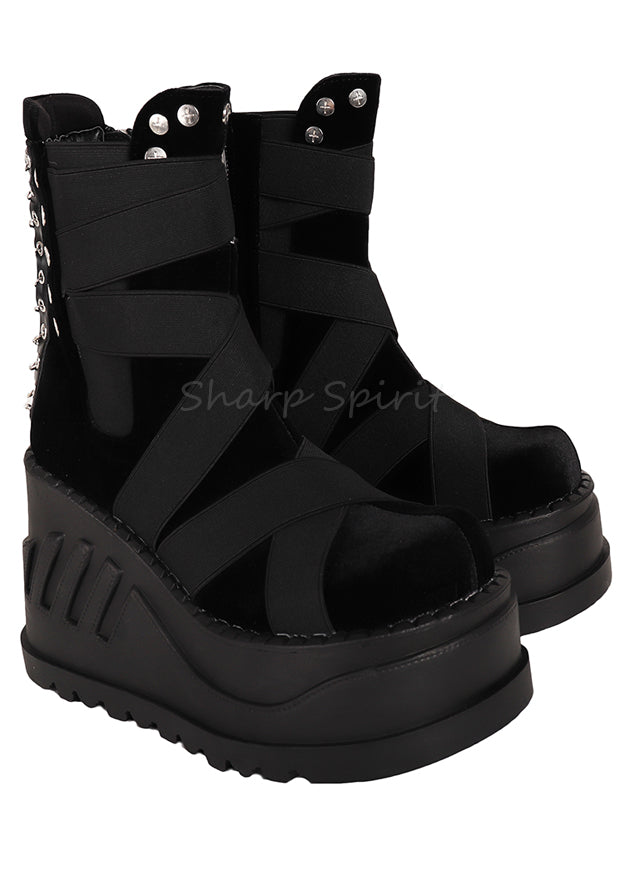 Gothic Cyber Futuristic Platform Steampunk Womens Boots