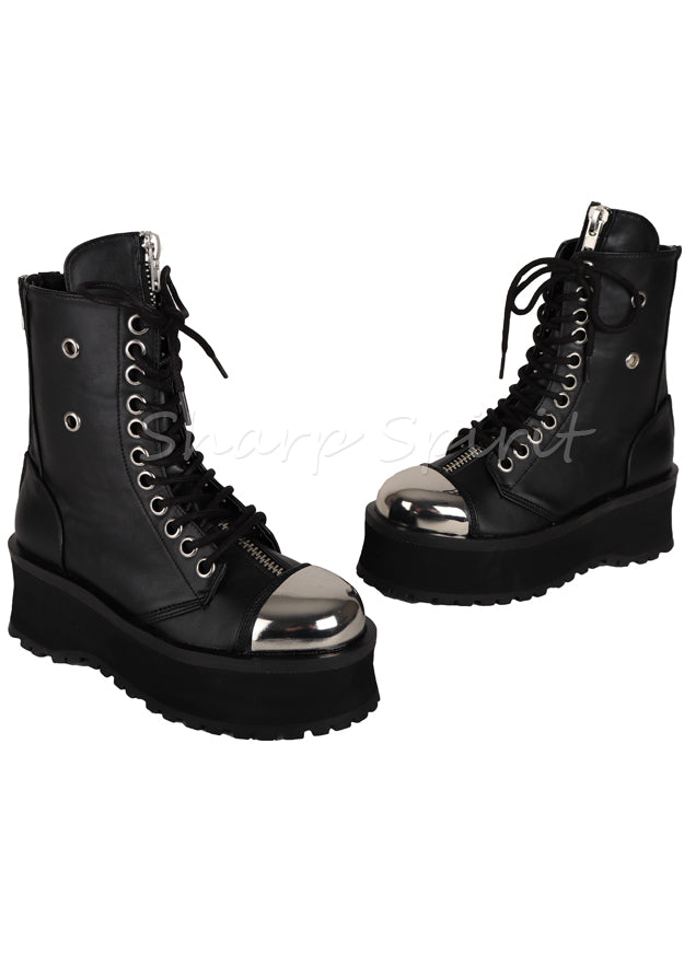 Gothic Lace Up Combat Steampunk Western Military Mens Boots