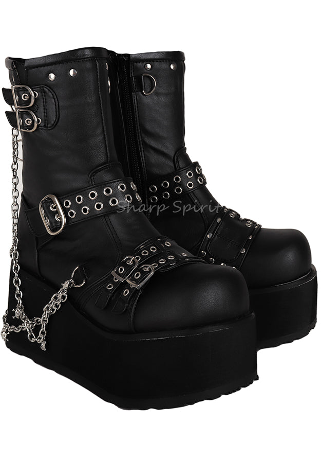 Gothic Lace Up Skull Steampunk Lolita Punk Cyber Womens Platforms