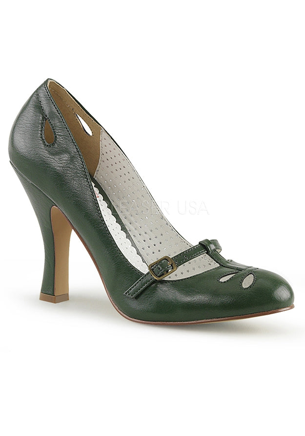 Green Faux Leather Mary Jane Pumps