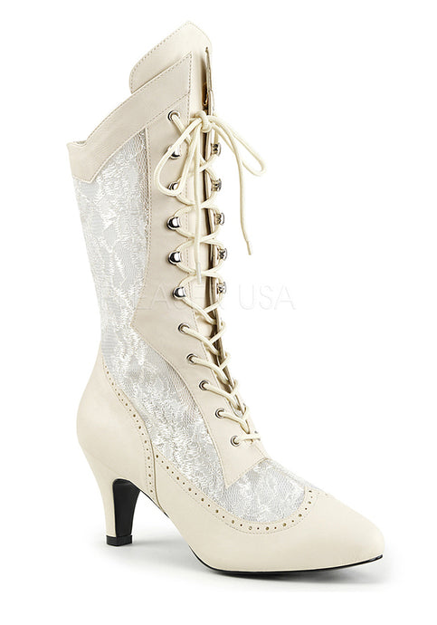 Ivory Mid-Calf Lace Up Bridal Boots