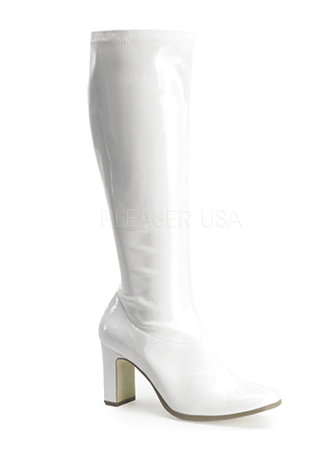 White Retro Pointy Toe Boots