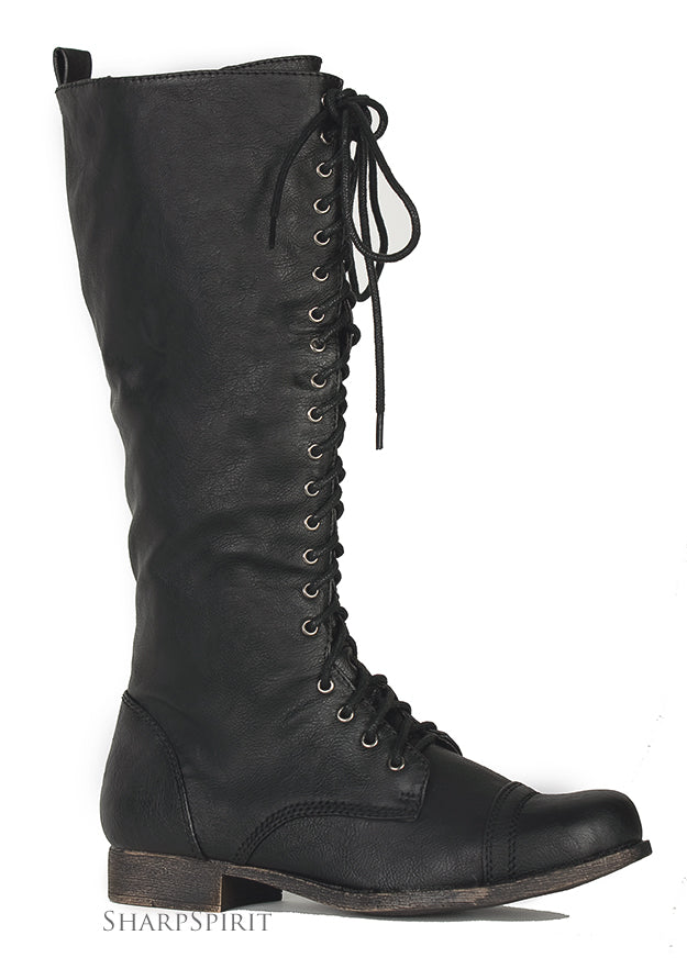 Distress Black Knee High Boots