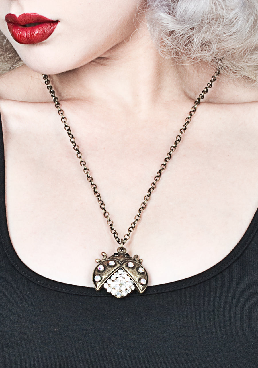 Antique Gold Tone Lady Bug Necklace