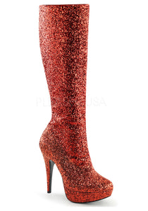 Red Glitter Burlesque Boots