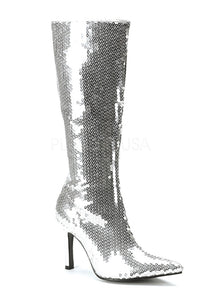 Silver Sequin Pointy Toe Boots