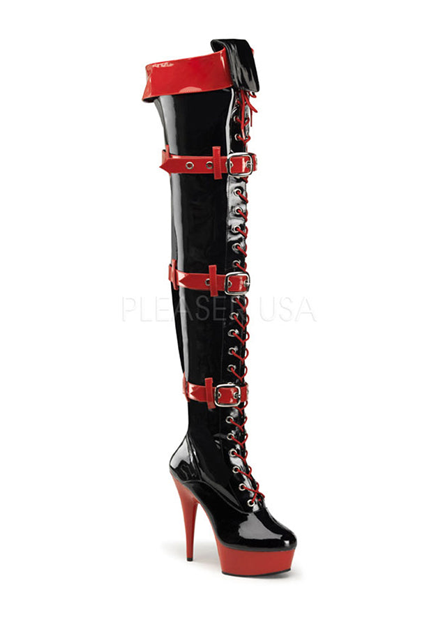 3 Buckle Thigh High Nurse Boots