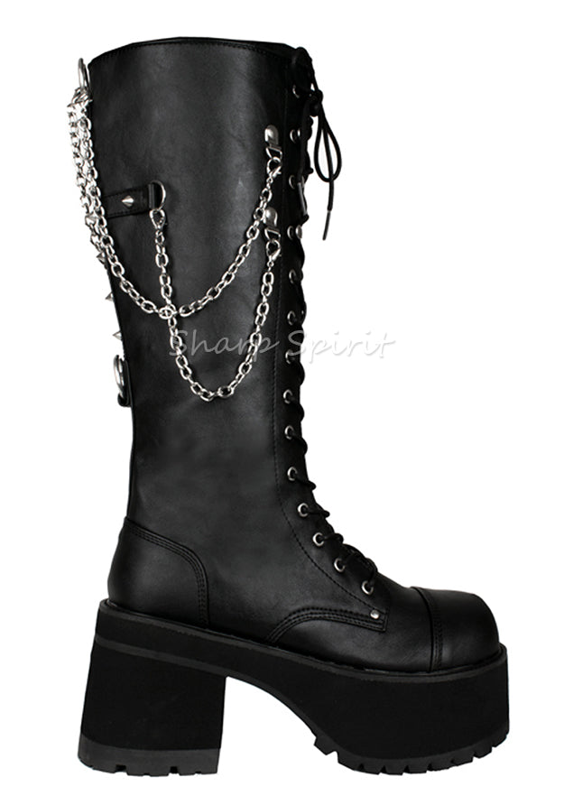 9bef252643b Mens Lace Up Gothic Platform Boots