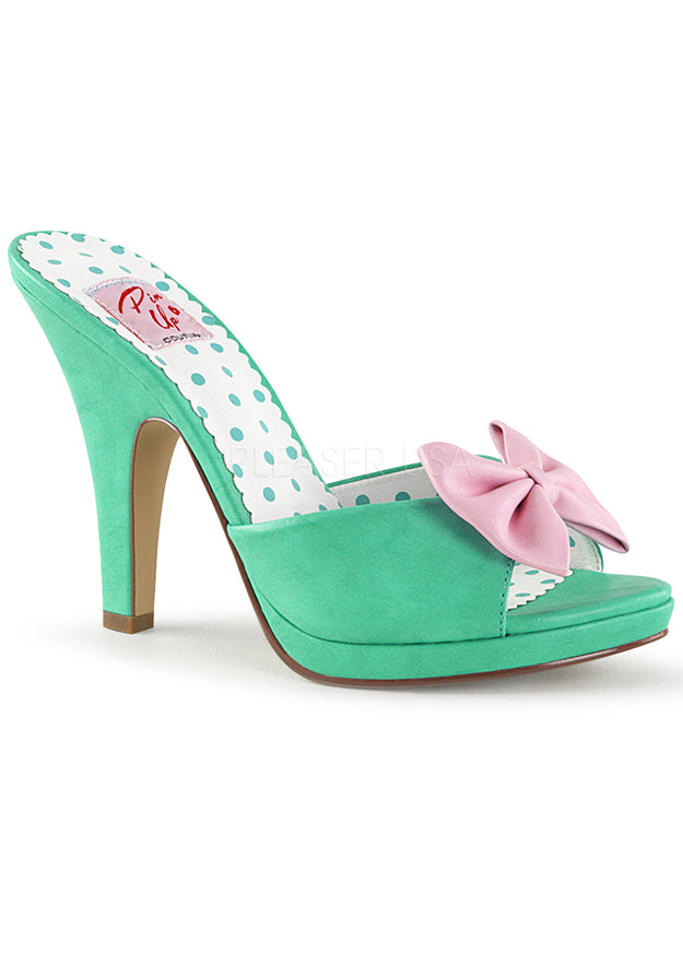 Green Teal Open Toe Cinderella Heels