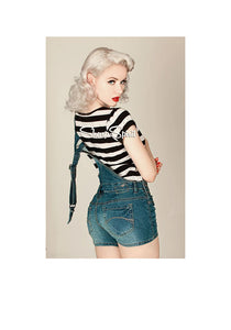 Vintage Style Denim Overalls Shorts Distress Pin Up Rockabilly Punk Rave L 7