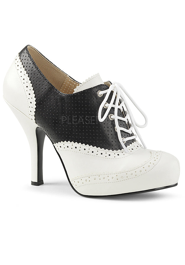Oxford Saddle White & Black Ankle Booties