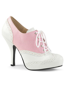Pink & White Vintage Style Oxford Pumps