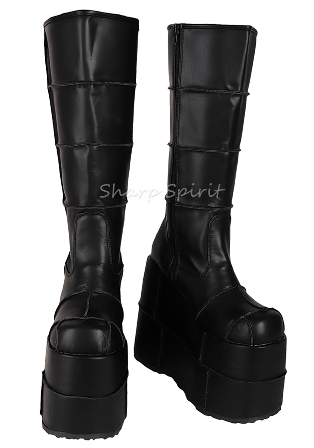 Patched Knee High Platform Boots