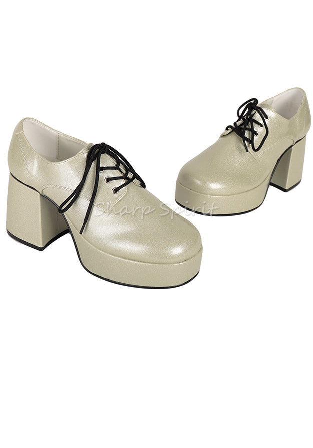 Pearlized Silver Glitter Retro Shoes