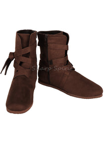 Brown Peasant Halloween Costume Cosplay Mens Boots