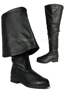 Leather Pirate Bell Cuff Boots