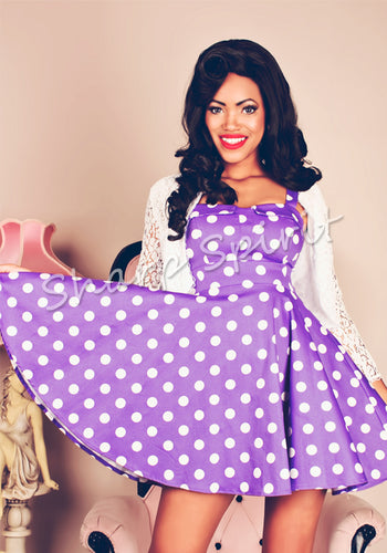 Purple & White Vintage Style Dress