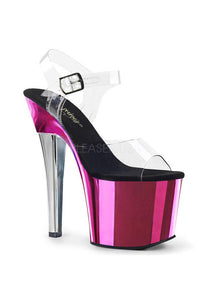 "7"" Heel, 3 1/4"" Two Tone Chrome PF Ankle Strap Sandal"