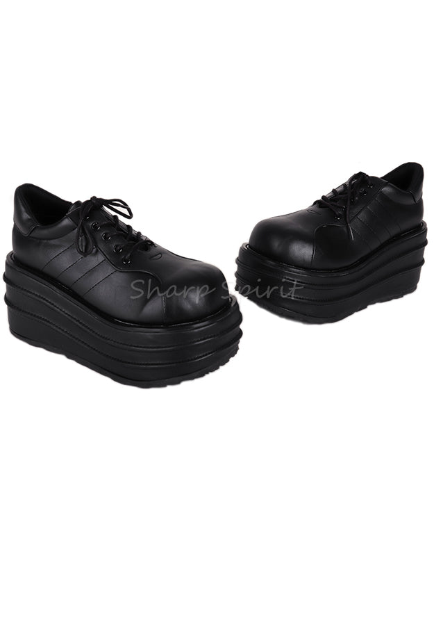 Rave Lace Up Platform Unisex Faux Leather Shoes