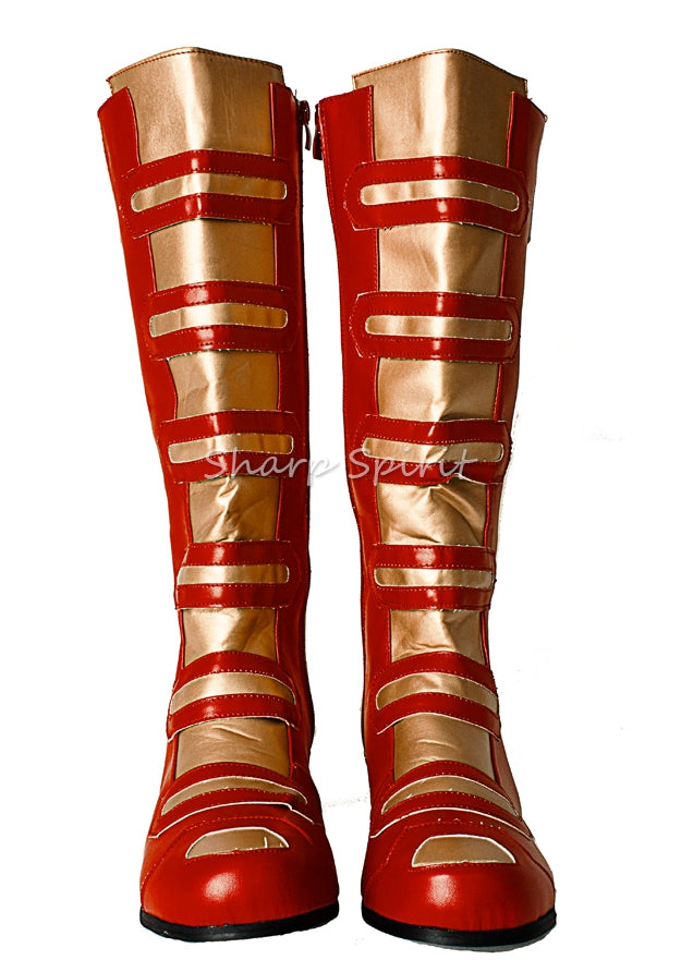 Red & Gold Super Hero Robot Man Boots