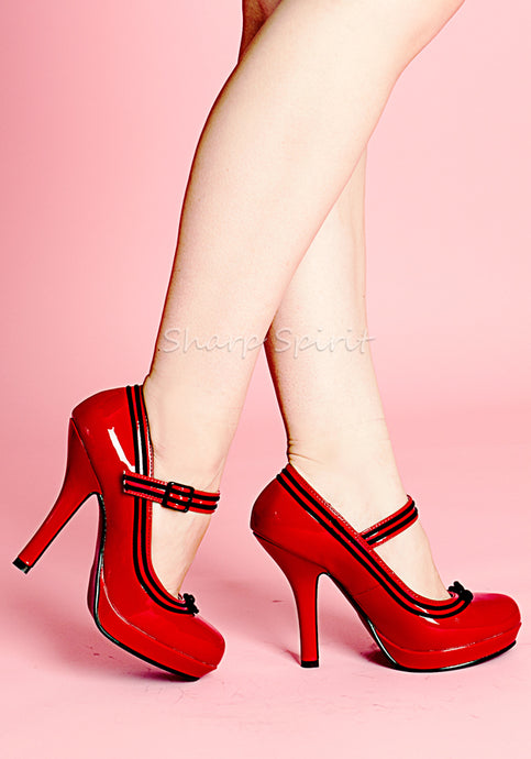 Red & Black Mary Jane Pumps