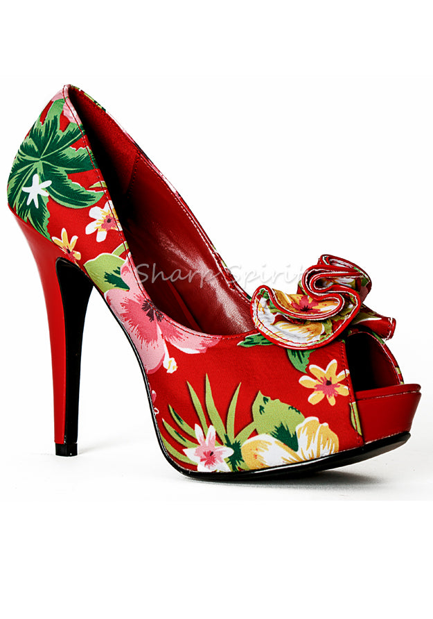 Red Floral Print Ruffle Heels