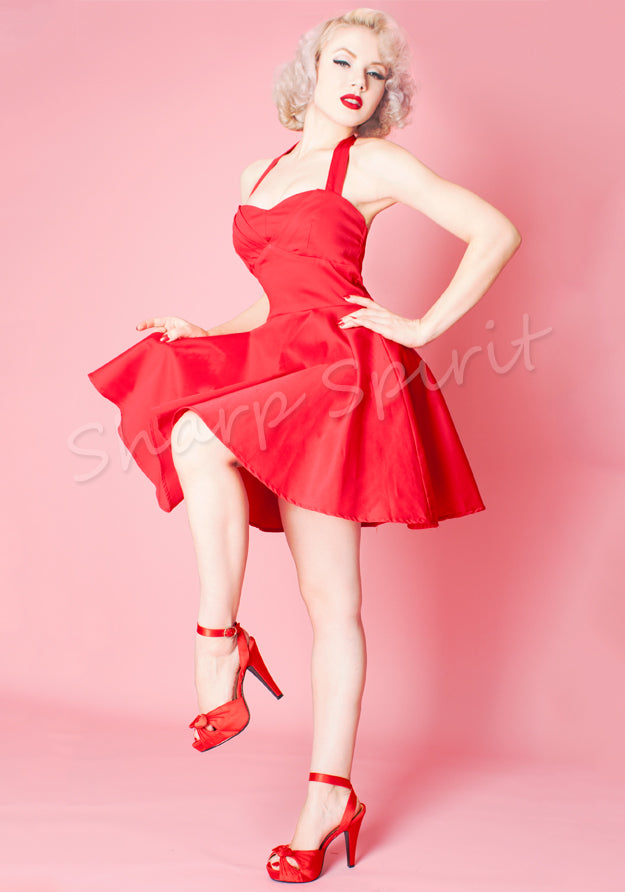 Red Vintage Style Halter Dress