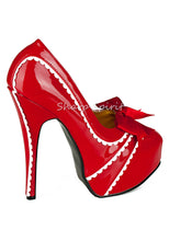 Load image into Gallery viewer, Red & White Scalloped High Heels