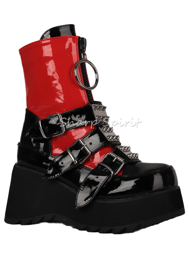 Red & Black Rave Gothic Platform Womens Shoes