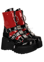 Load image into Gallery viewer, Red & Black Rave Gothic Platform Womens Shoes