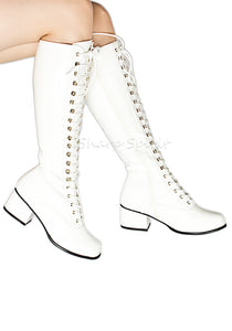 White Lace-Up Combat Gogo Boots