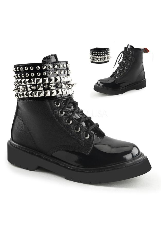 Ankle High Booties w Spikes & 8 Eyelet Closure