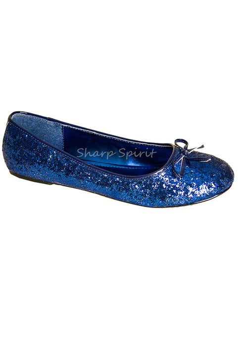 Blue Glitter Pixie Flat Shoes