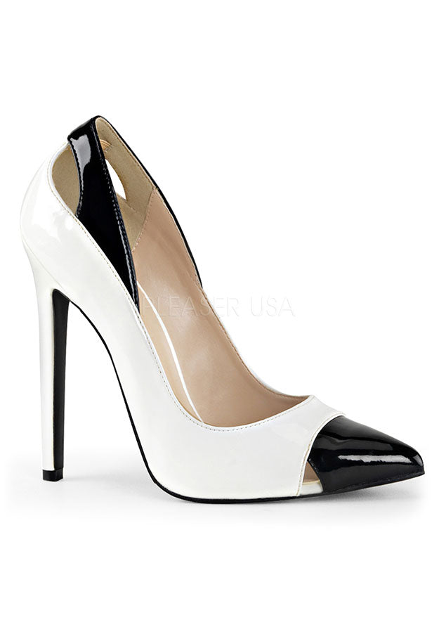 White & Black Pointed Classic Heels