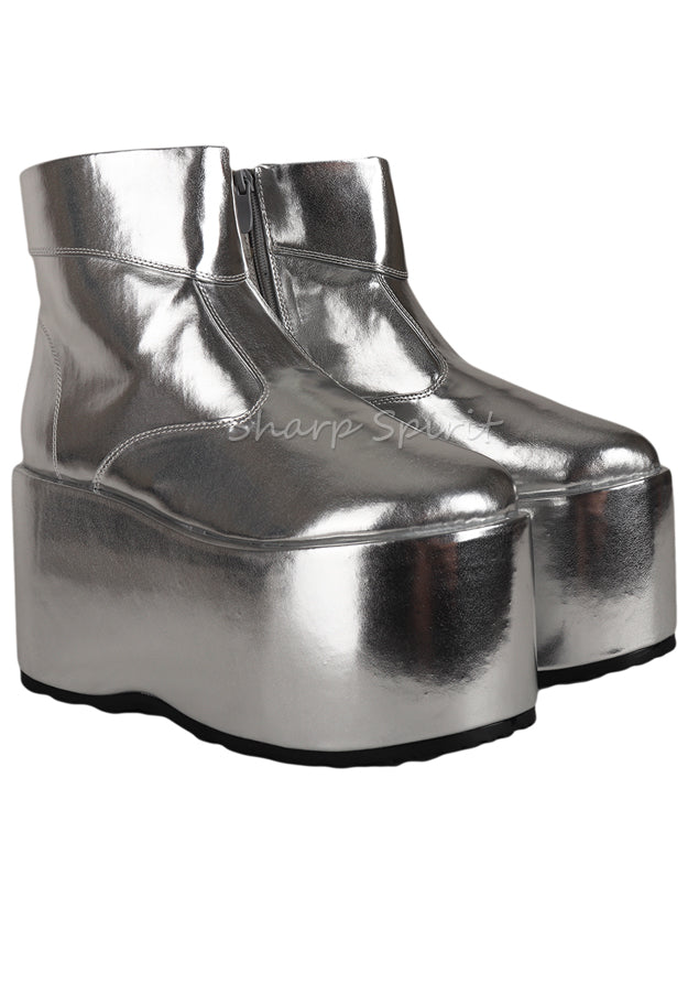 Silver Disco Gogo Festival Party Demon Mens Platform Boots