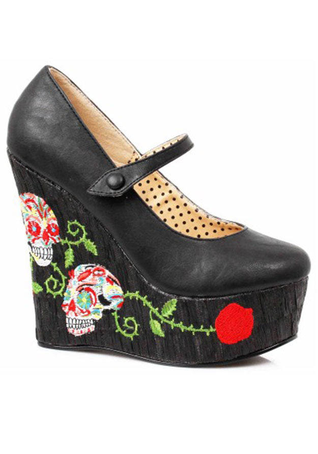Skull Embroidered Mary Jane Platforms